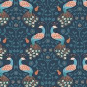 Lewis & Irene Cheiveley - 5640 - Blue Peacocks on Navy (Metallic) - A245.3 - Cotton Fabric